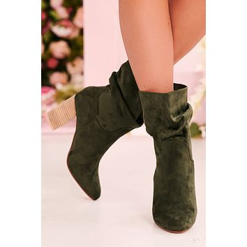 IMPERFECT Strut Like You Mean It Slouch Booties (Forest)