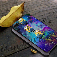 Minions galaxy space Cover - iPhone 4 4S iPhone 5 5S 5C and Samsung Galaxy S3 S4 Case