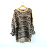 Vintage oversized cotton sweater. brown striped sweater. cotton knit pullover. baggy boyfriend sweater. size 3XL