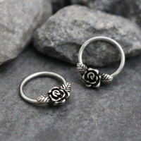 Rose Septum Ring, Rook Earring, Daith Piercing, Conch Ring, Nipple Hoop, Silver Septum Piercing, Daith Earrings, Rook Jewelry,Septum Clicker