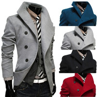 Asymmetrical Button Designer Men's Wool Coat