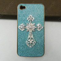 iphone 5 case iphone 4 case Golden  Pearl white  Cross case  leather case  handmade  loves Fashion case iphone case