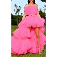 Can't Stop Me Pink Mesh Tulle Strapless Ruffle Tier High Low Maxi Dress