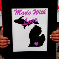 Made With Love State Specific Nursery Print. Michigan. Choose Pink Or Blue. 8x10 Typography Print.