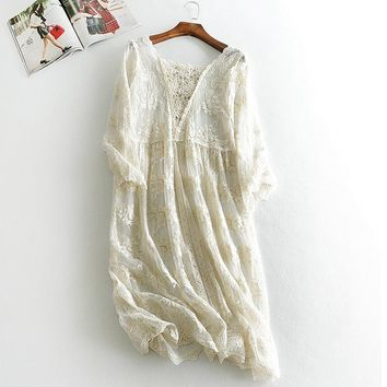 Sweet Summer New V-neck Lace Embroidery Hollow Out Women Dress Gispy Hippie Boho Crochet Ropa Mujer Mori Girl Tunique Robe Dress