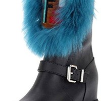 Fendi Tall Hidden Wedge Fur Boots Size 37