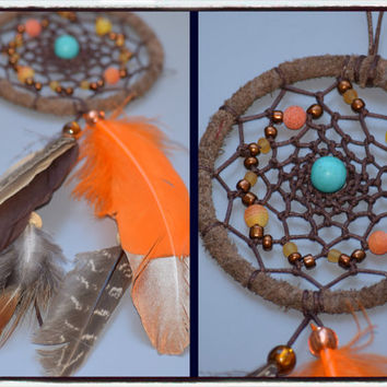 Car accessory,  Dream catcher, Car Rear View Mirror Charm, Tribal  Brown  Dreamcatcher with Turquoise stone, Agate stone.