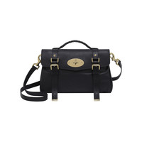 Alexa in Black Polished Buffalo With Soft Gold | Women's Bags | Mulberry