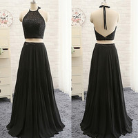 two pieces Prom Dress,long Prom Dress,black Prom Dress,halter Prom Dress,party dress,PD276