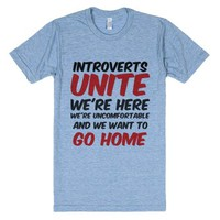 Introverts forever-Unisex Athletic Blue T-Shirt