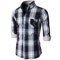 Doublju Men's Casual Button Down Shirts Of Plaid Check Patterned KMTSTL0204