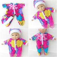 """Bitty Baby Clothes, fits 15"""" Girl doll, Pink Puzzle Print Pajamas Hat, HANDMADE"""