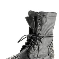 Breckelle's Georgia28 Black Studded Lace Up Combat Boots and Shop Boots at MakeMeChic.com