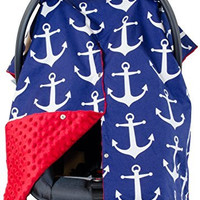 Premium Carseat Canopy Cover / Nursing Cover- Large Nautical Pattern w/ Red Minky | Best Infant Car Seat Canopy, Boy or Girl | Cool/ Warm Weather Car Seat Cover | Baby Shower Gift 4 Breastfeeding Moms