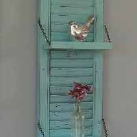 Rustic Shelf Shabby Chic Aqua Robin's Egg Blue Red Unique Wood Shutter Wall Decor Country Primitive