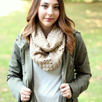 Mixed Pattern Knit Infinity Scarf
