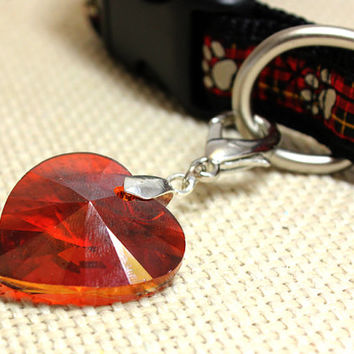 Extra Large Red Crystal Heart Dog Collar Pendant. Cherry Red Transparent Faceted Glass Drop Pendant for Cat Collar. Blood Red Dog Jewelry.