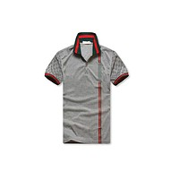 Luxury Men's Polo Style Green and Red Striped Shirt