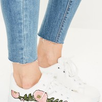 Missguided - White Floral Embroided Lace Up Sneakers