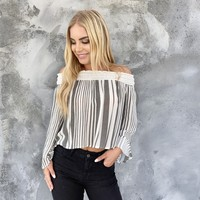 Victory Lap Off Shoulder Stripe Top