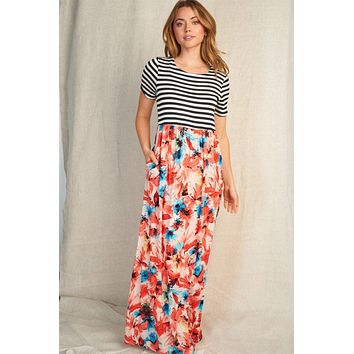 Vacay Babe Coral Stripe Floral Print Maxi Dress