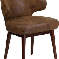 Comfort Back Series Bomber Jacket Microfiber Reception-Lounge-Office Chair with Walnut Legs