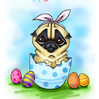 """Funny Easter card with Pug. Printable greeting card, Instant Download 5 x 7"""" JPG file, Happy Easter. Funny sketch drawing."""
