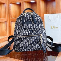 Dior fashion monogram casual ladies large - capacity backpacks handbag