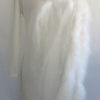 Vintage 1970s White Maxi Dress with Shear Front and Boa