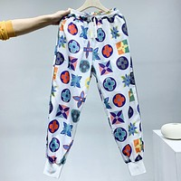 LV New fashion multicolor monogram print couple pants