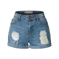 Casual Washed Distressed Stretchy Denim Jean Shorts (CLEARANCE)