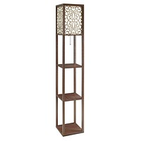 G901568 - Square Floor Lamp With 3 Shelves - Cappuccino
