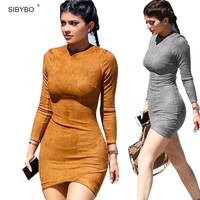 Synthetic Leather Suede Women Winter Dress