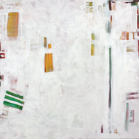 Large square Abstract Painting White Yellow Green