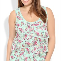 Plus Size Floral Print Lace Tank Top with Diagonal Ruffles, Solid Back