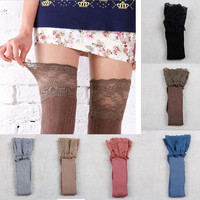 Women Knitting Lace Cotton Over Knee Thigh Stockings High Socks Pantyhose Tights [8295206727]