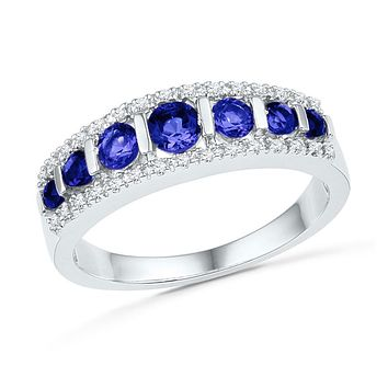 10k White Gold Round Created Blue Sapphire Diamond Band Ring 7/8 Cttw