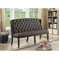 Tufted High Back 3-Seater Love Seat Bench With Nailhead Trims, Gray By Casagear Home