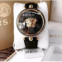 Versace Leather Wrist Watch Women Men Fashion Quartz Movement Black