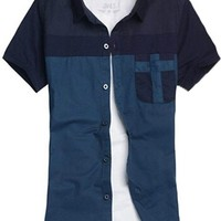 jeansian Men's Casual Slim Short Sleeves Cotton Shirts MAD003