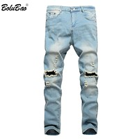 Ripped Jeans for Men Patchwork Hollow Out Printed Beggar Cropped Pants Yong Man Style Trendy Hombre