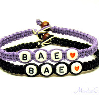 Bae Bracelets for Couples or Best Friends, Before Anyone Else, Light Purple and Black Hemp Jewelry, Made to Order