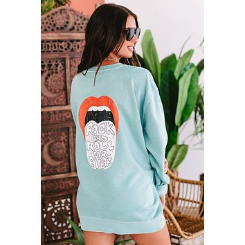 """""""Rock And Roll Forever"""" Double-Sided Graphic Crewneck Sweatshirt (Mint) - Print On Demand"""
