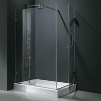 Vigo 48.125 in. x 36.125 in. x 79.25 in. Frameless Pivot Shower Enclosure in Chrome with Clear Glass and Left Base-VG6012CHCL36WL - The Home Depot