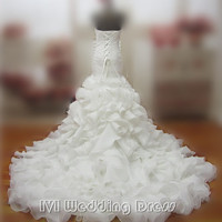 Real Samples Ruffled Mermaid Wedding Dresses Lace-up Strapless Bridal Gowns Vestido De Novia Prom Gown