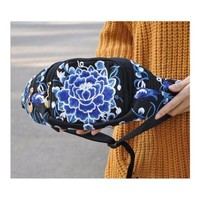 New Original Design Cosmetic Bag Woman's Bag High Volume Waist Bag    blue and w
