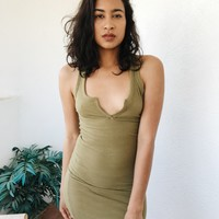 CLAUDIA OPEN FRONT TANK DRESS- OLIVE