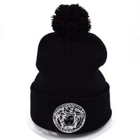 Versace Women Men Embroidery Beanies Winter Knit Hat Cap-2