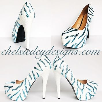 Zebra Glitter High Heels, Light Blue White Striped Platform Prom Pumps