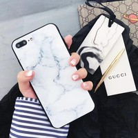 Marble Pattern Glass Case For iPhone X 10 6s Tempered glass Cover Bumper On The For Apple iPhone 6 s 7 8 X Case Silicone Shell